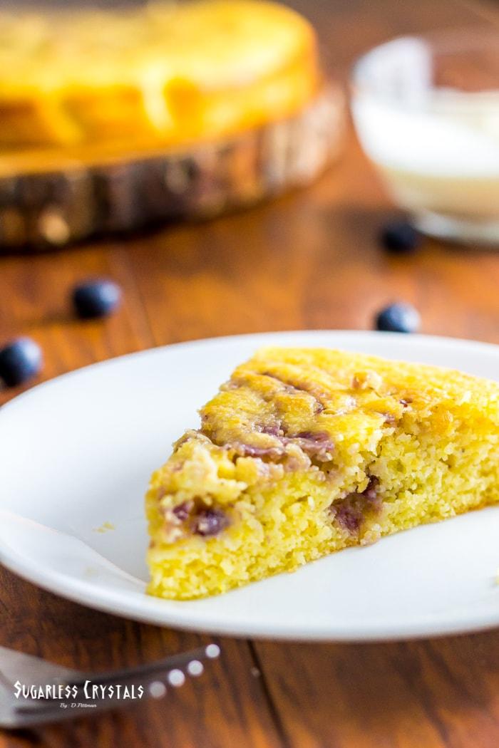 Low Carb Lemon Blueberry Cake (Keto, Sugar Free, Gluten Free)