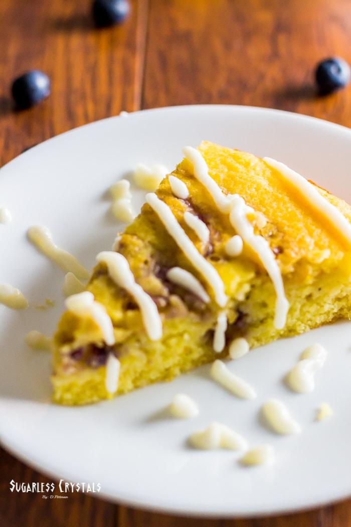 low carb lemon blueberry cake, keto, sugar free, grain free