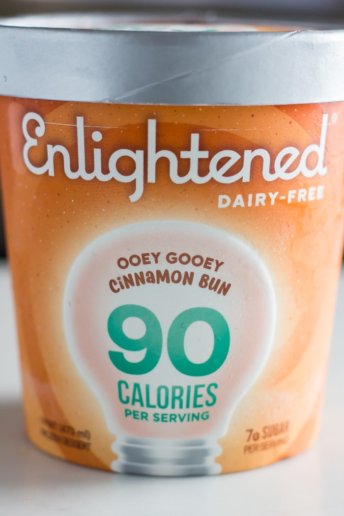 pint of Enlightened ice cream flavor ooey gooey cinnamon bun