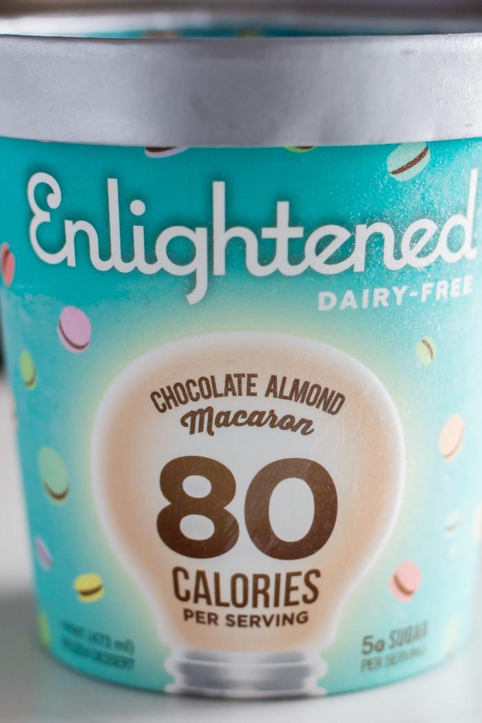 pint of Enlightened ice cream flavor chocolate almond macaron