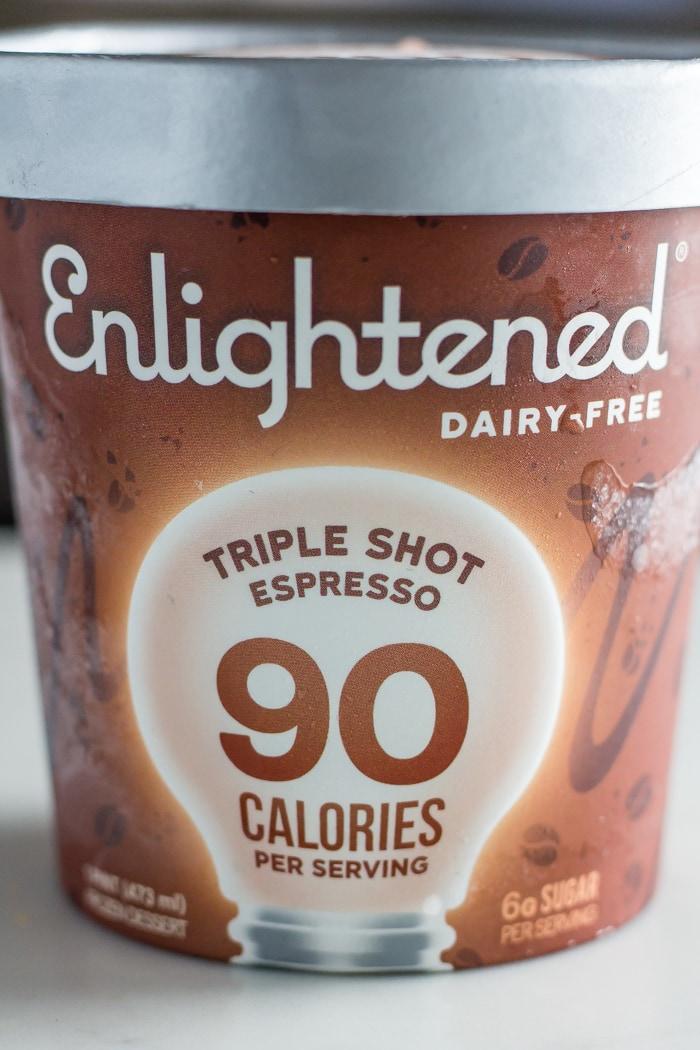 pint of Enlightened ice cream flavor triple shot expresso