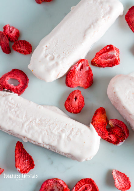 Strawberry Sugar Free Popsicles (Keto, Low Carb)