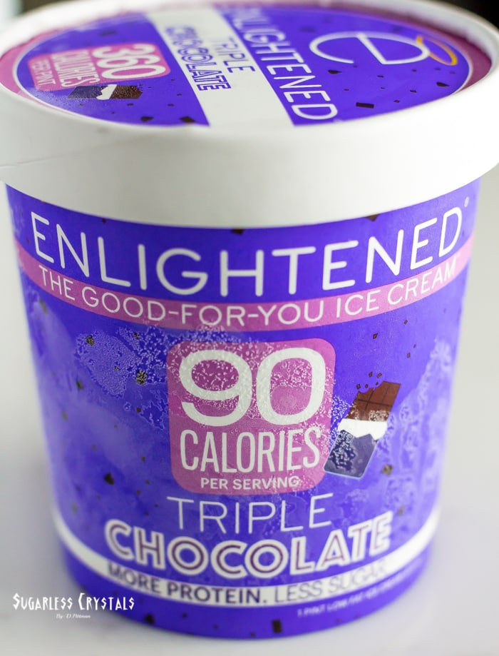 pint of enlightened ice cream flavor triple chocolate