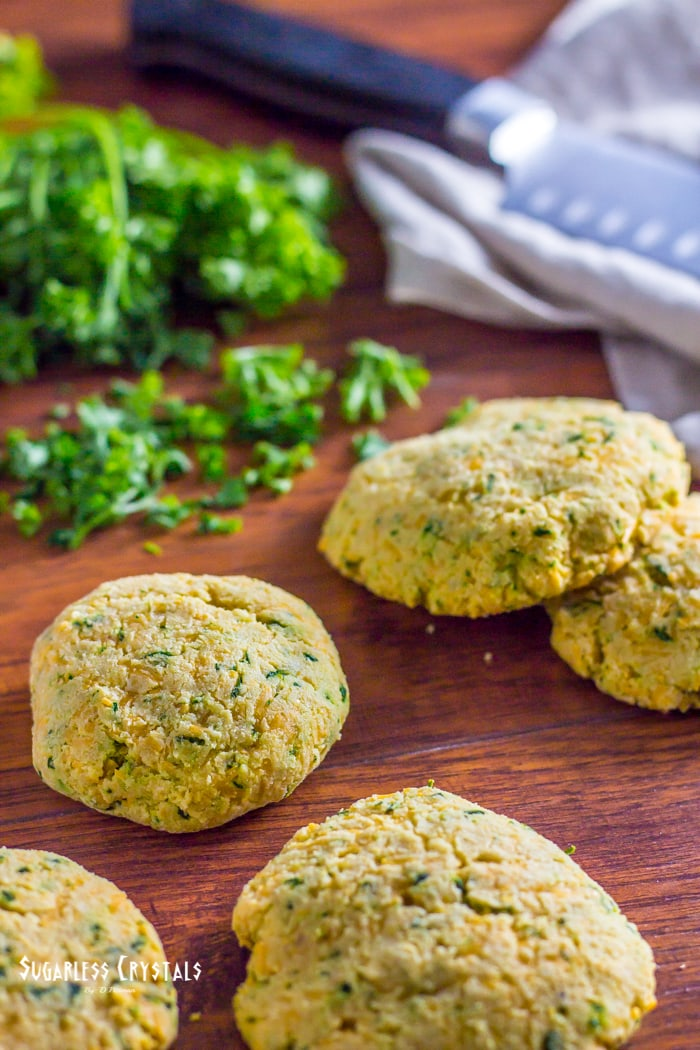 low carb biscuits with chopped parsley in the back