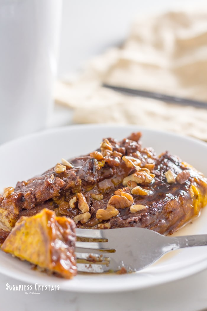 low carb french toast bake with bite taken out with fork