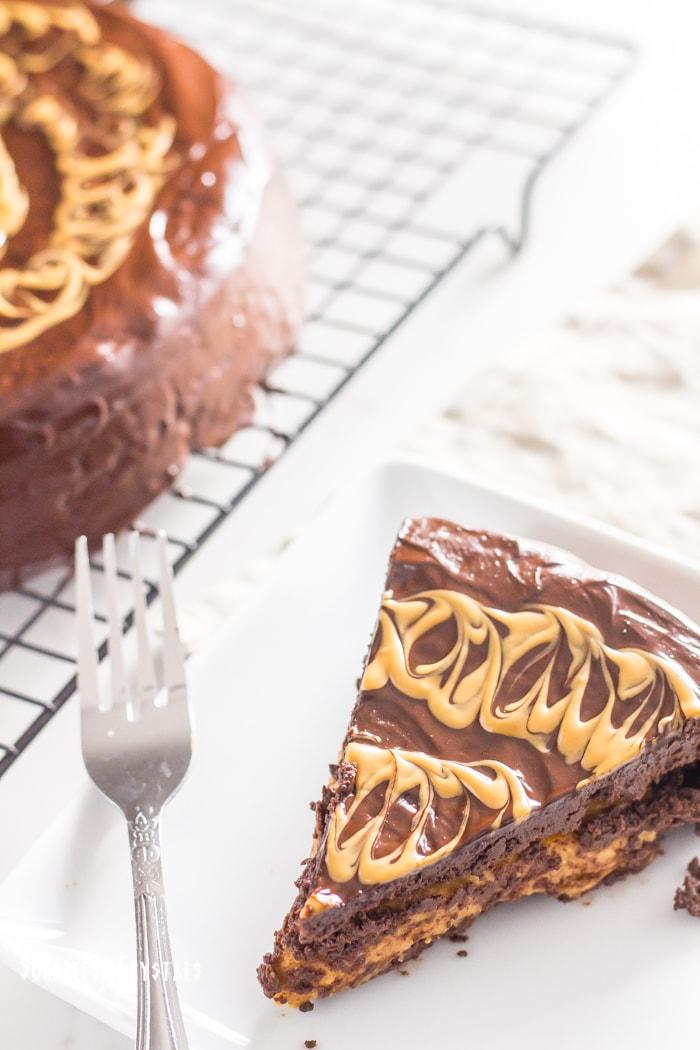 Peanut Butter Stuffed Chocolate Keto Cake (Low Carb, Sugar Free, Grain Free)