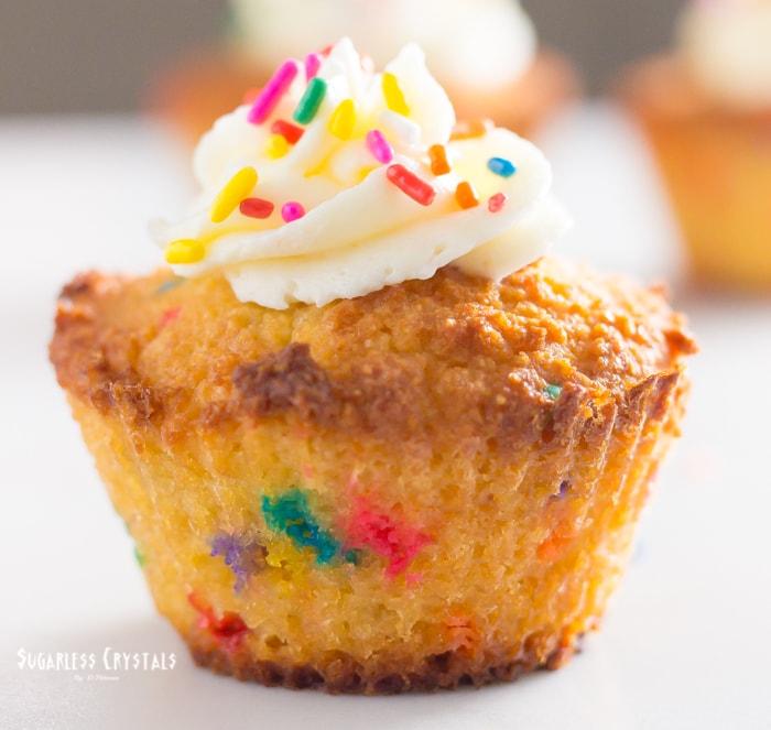 vanilla keto birthday cake cupcake