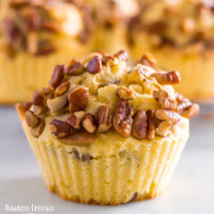 keto pecan pie muffins close up of one muffin