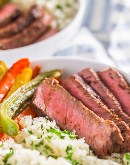 Healthy Steak Fajitas With Cilantro Lime Cauliflower Rice (Keto, Low Carb)