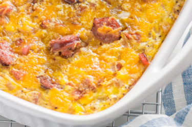 meat lovers scramble keto egg bake in casserole dish
