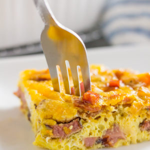 meat lovers scramble keto egg bake