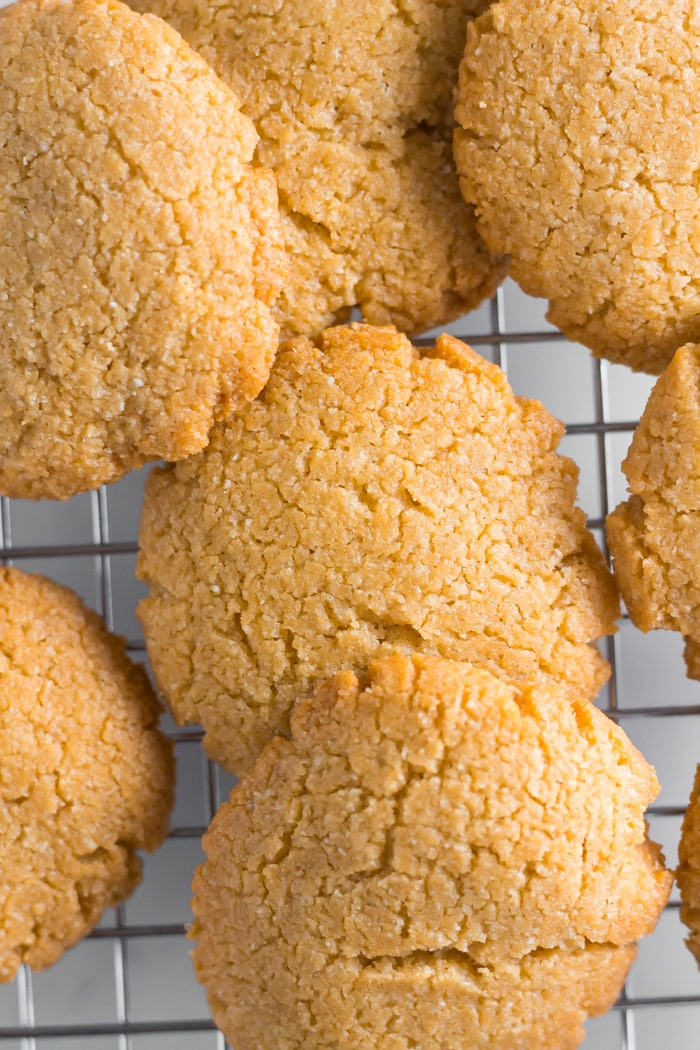 Peanut butter keto cookies on cooling rack
