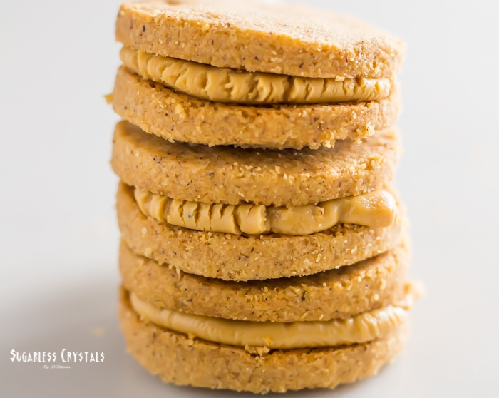 Keto Shortbread Cookies with Cookie Butter stacked on another