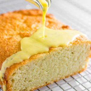 Lemon keto pound cake with creamed lemon poppyseed icing