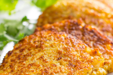 Keto cauliflower hash browns close up