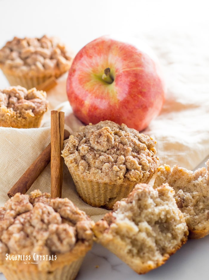 Healthy keto friendly apple muffins with apple and cinnamon sticks