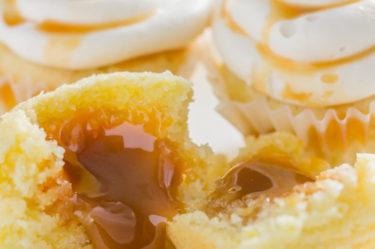 stuffed caramel keto cupcakes