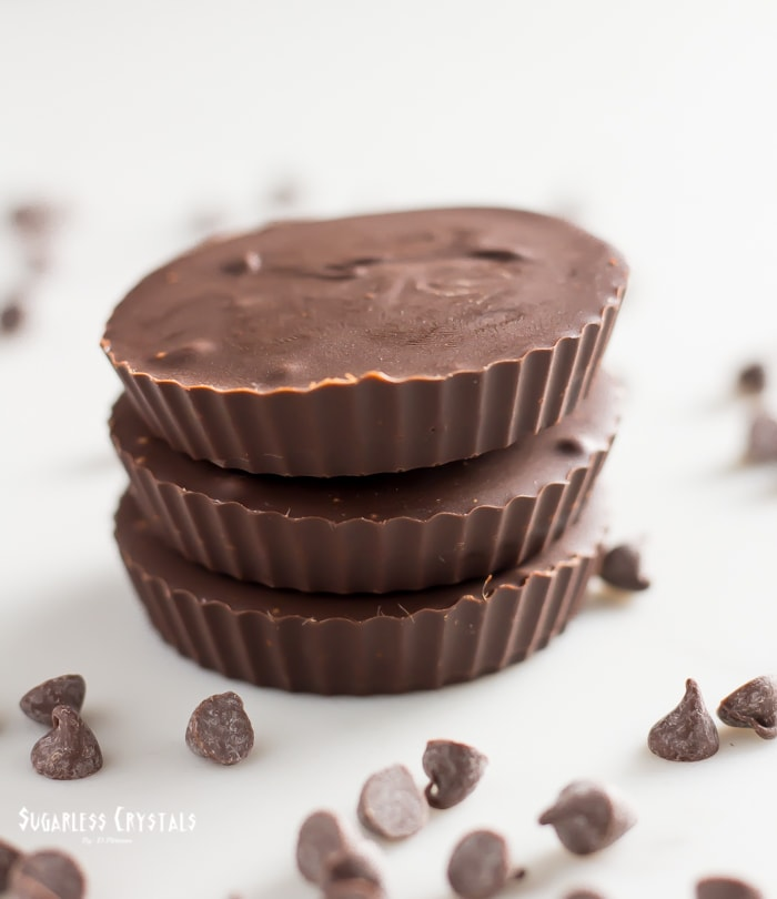 Keto peanut butter cups stacked in three