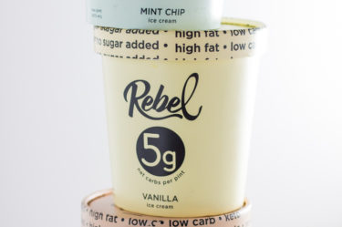stack of three rebel creamery flavors