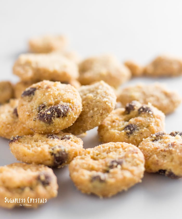 HighKey snacks keto mini cookies close up of chocolate chip and snickerdoodle flavors