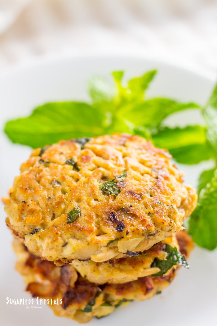 keto tuna cakes with onion and herb with mint leaves