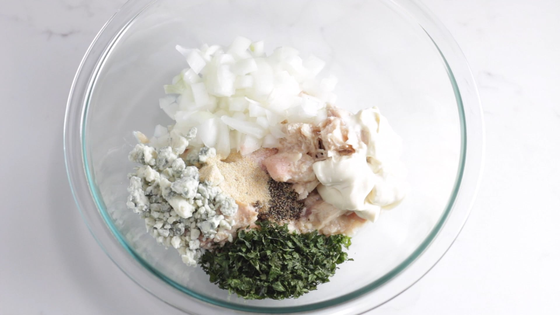 add in all seasoning, onion and herb of choice