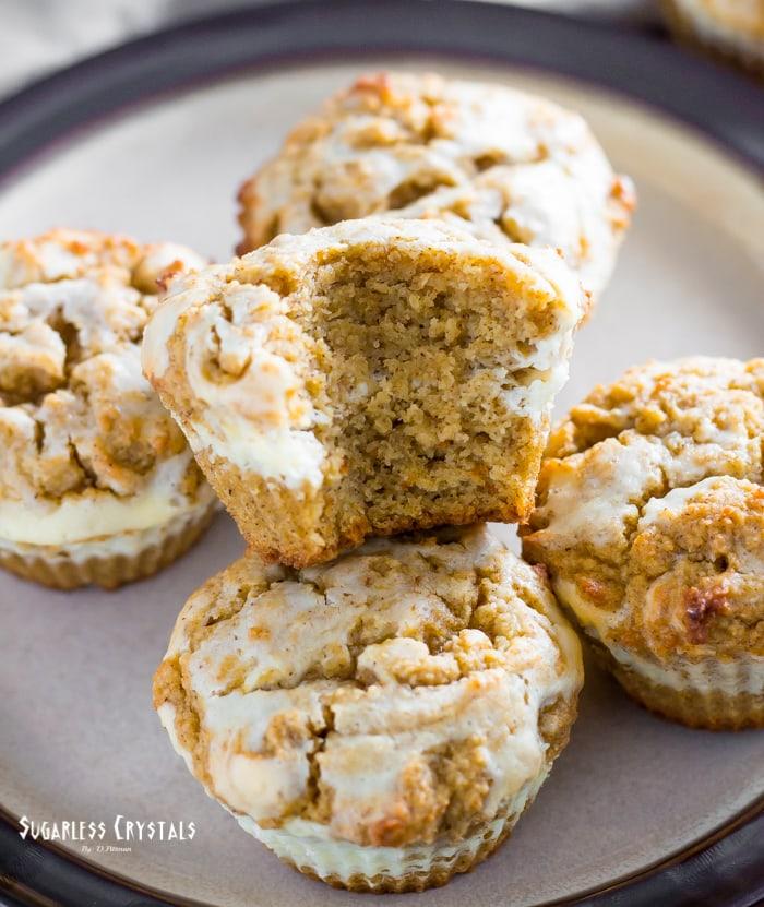 keto pumpkin maple cream cheese muffins on a plate