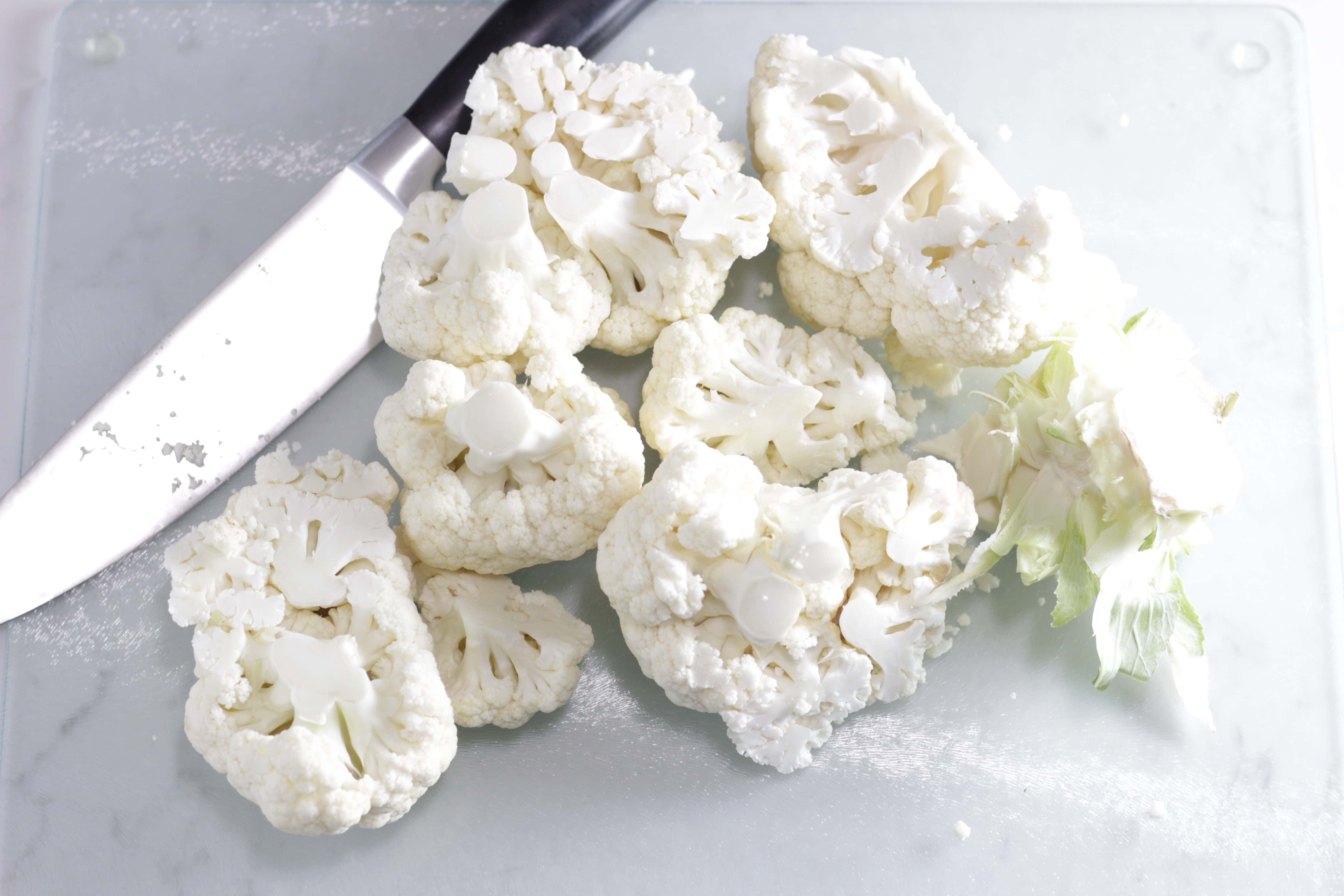 head of cauliflower chopped up