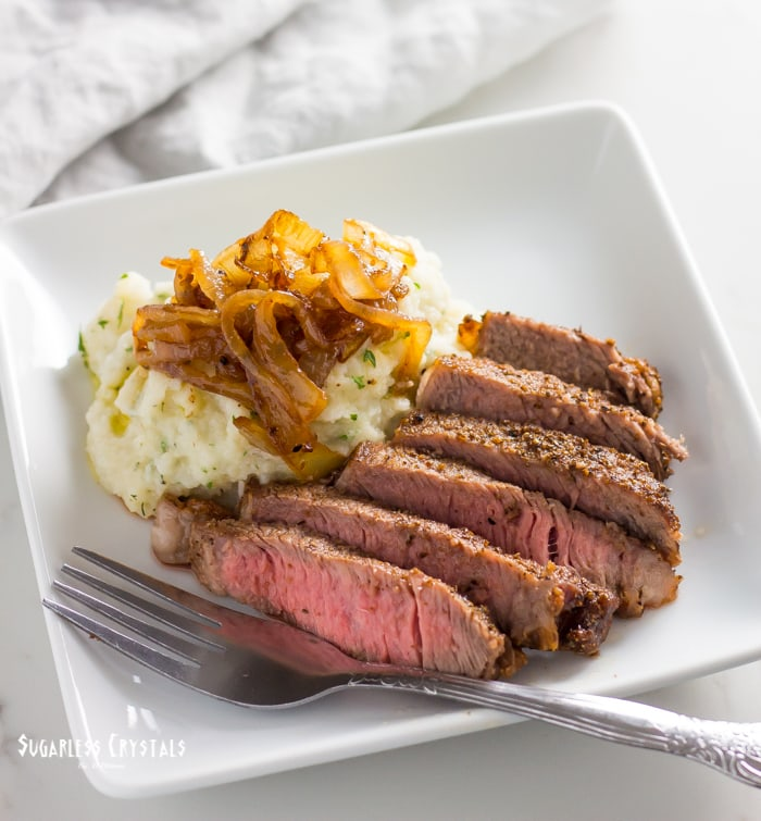 mashed cauliflower recipe with steak and onion