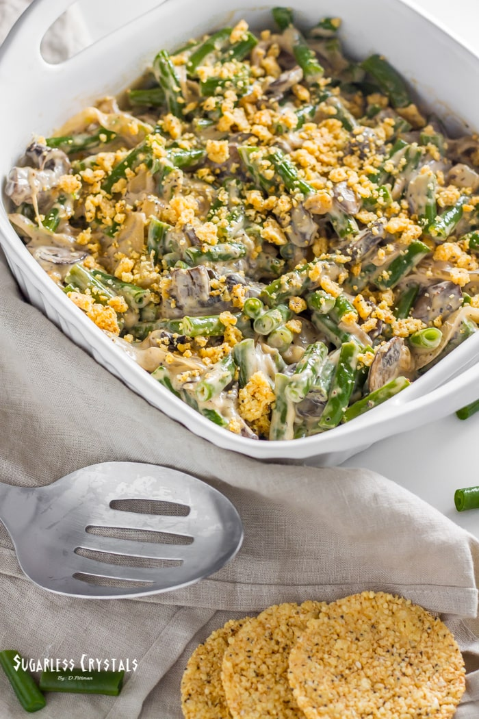 keto green bean casserole out of the oven ready to serve
