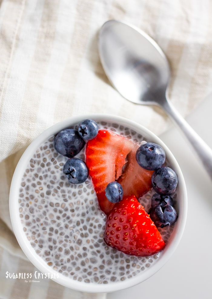 keto chia pudding over top with mix ins