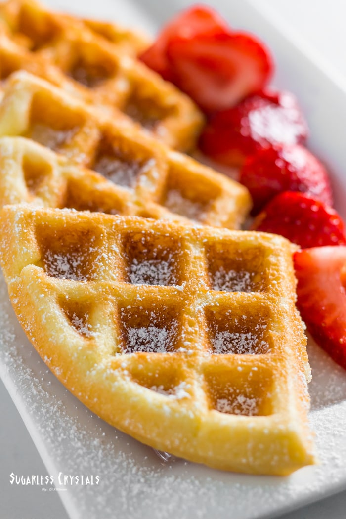 keto waffle recipe with strawberries and powdered sweetener