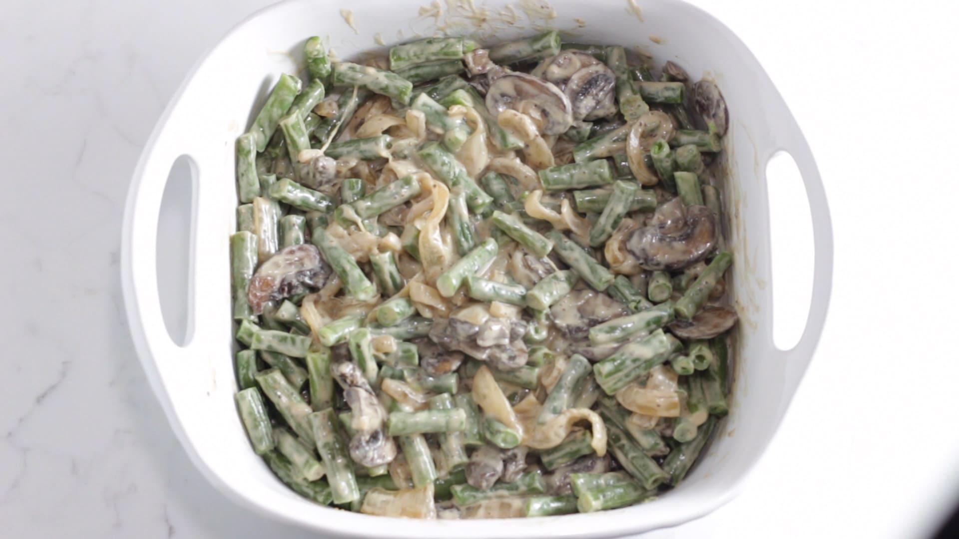 casserole dish with keto green bean casserole