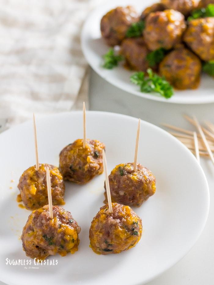 keto sausage balls with toothpicks