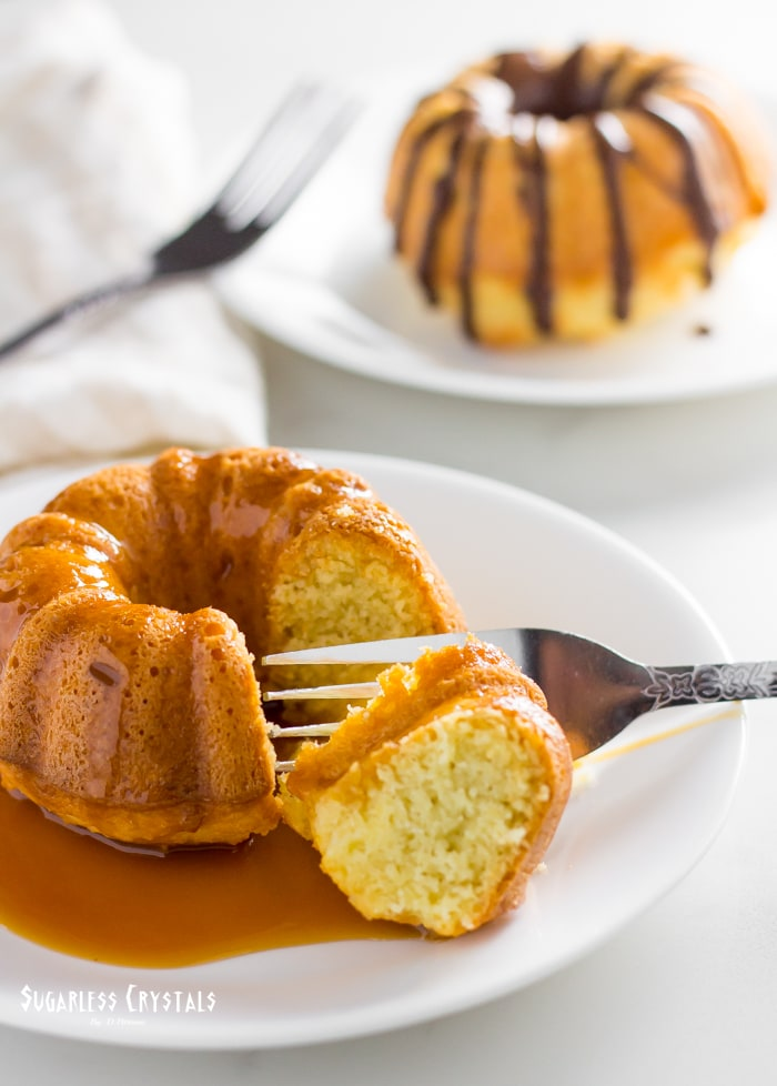 keto pound cake with caramel sauce and a cake with chocolate syrup