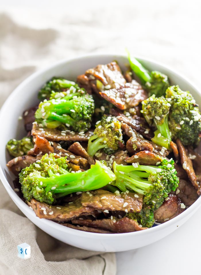 Keto beef and broccoli in a serving bowl