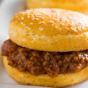 keto sloppy joes with bun on plate