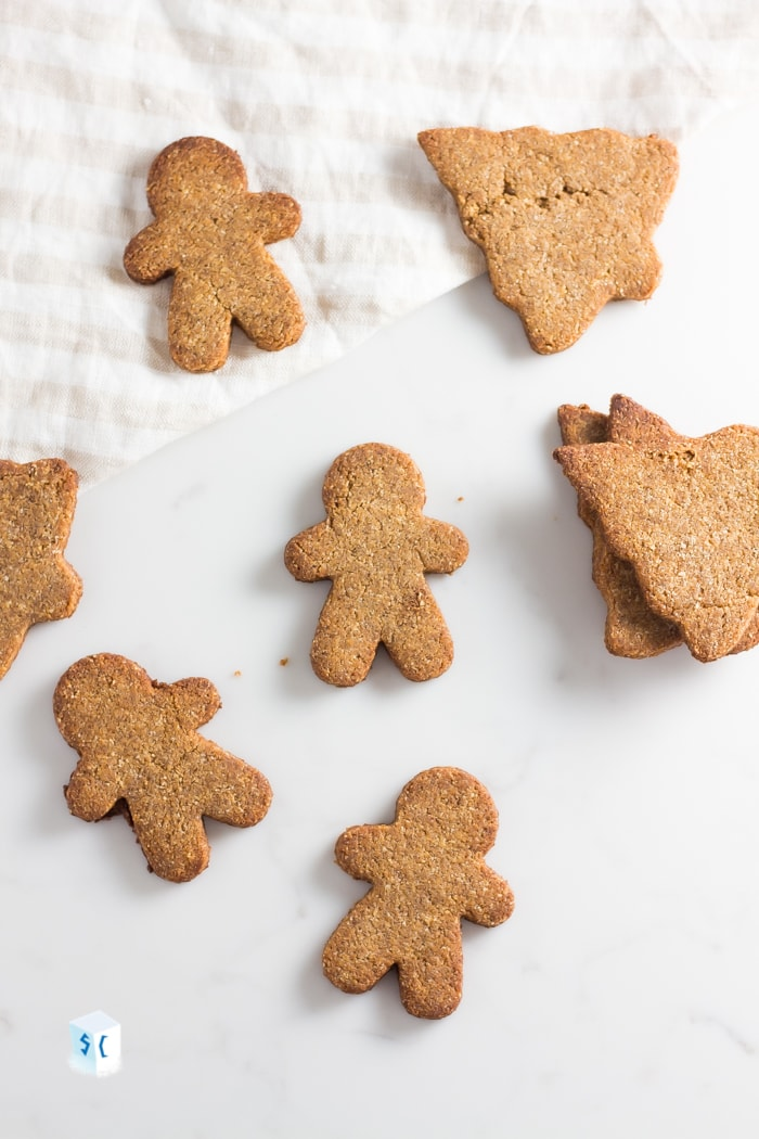 Keto gingerbread cookies with cut out gingerbread men