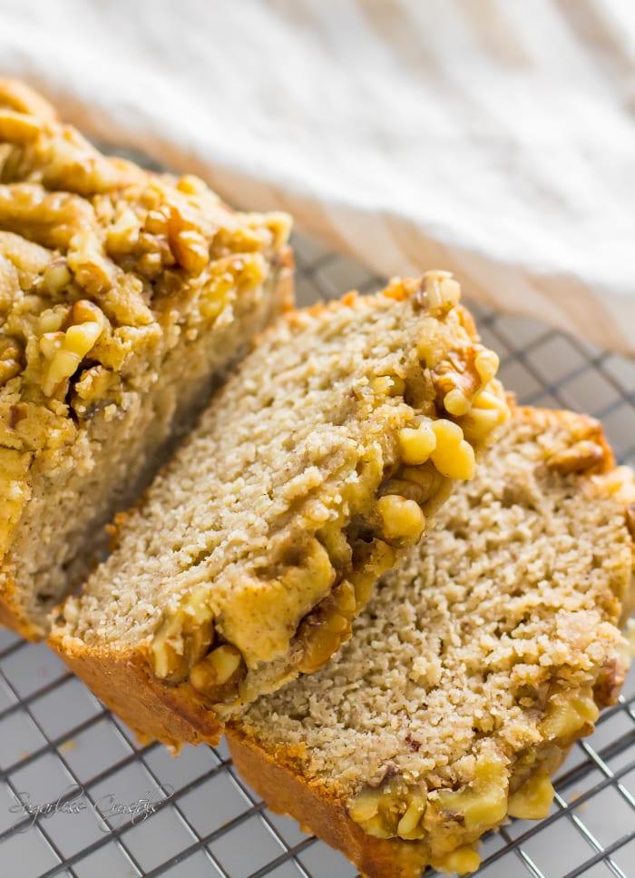 ketobanana bread loaf cut