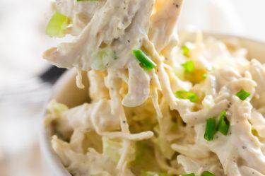 keto chicken salad served on fork