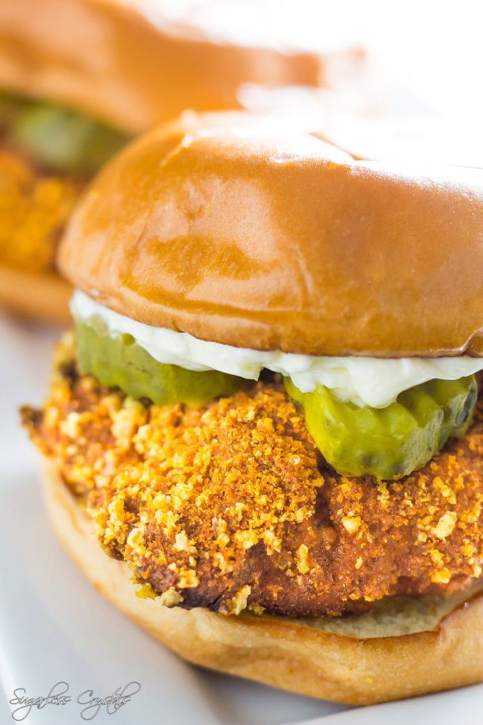 Keto fried chicken sandwich with pickle and mayo