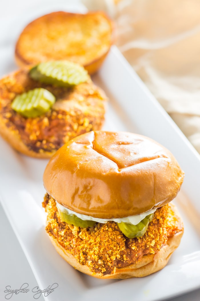 two keto fried chickens on buns