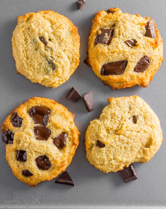 keto chocolate chip cookies on sheet pan
