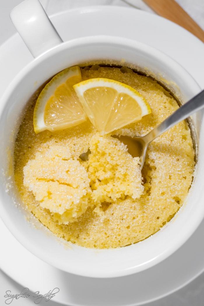 Keto Lemon Mug Cake Sugarless Crystals