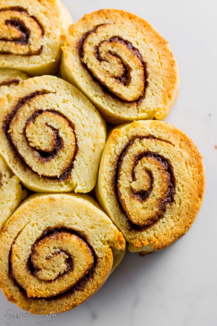 Keto cinnamon rolls in bowl
