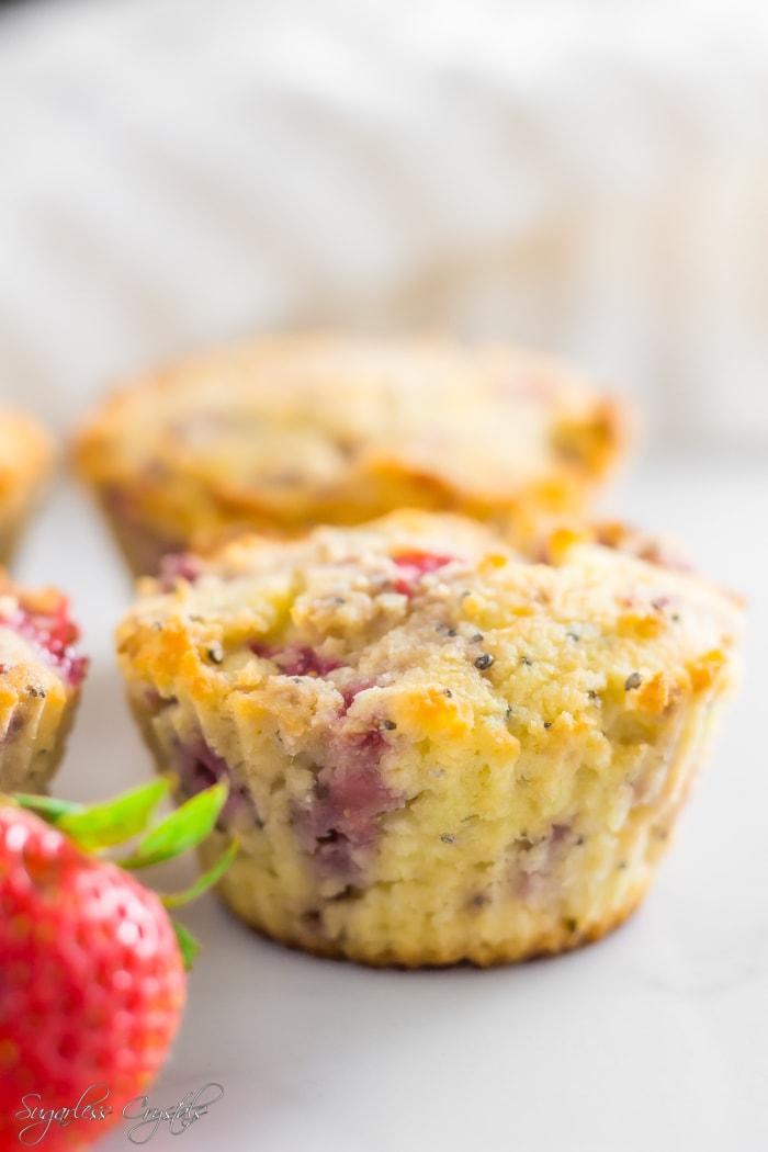 Coconut Flour Strawberry Swirl Muffins