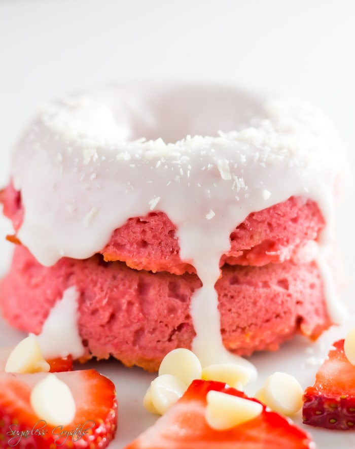 glazed strawberry keto donuts