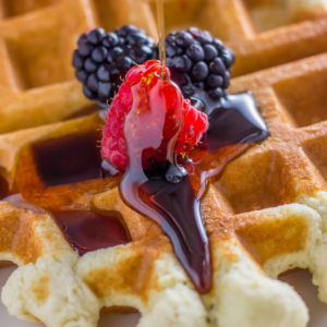 Coconut flour waffles with sugar free syrup