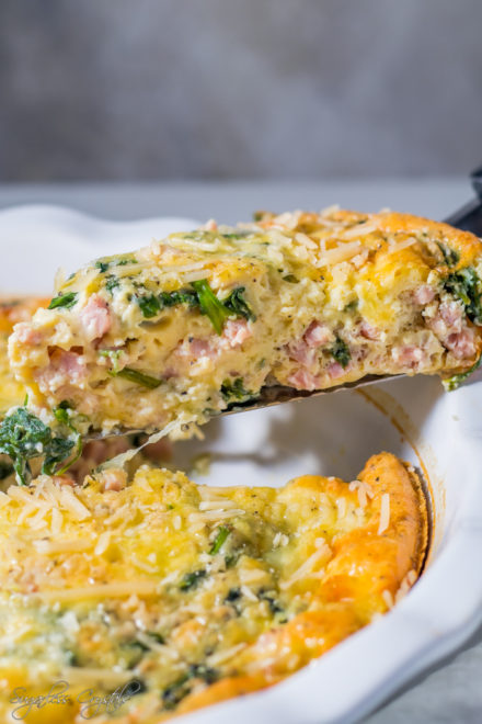 Ham & Cheese Crustless Quiche Keto Recipe