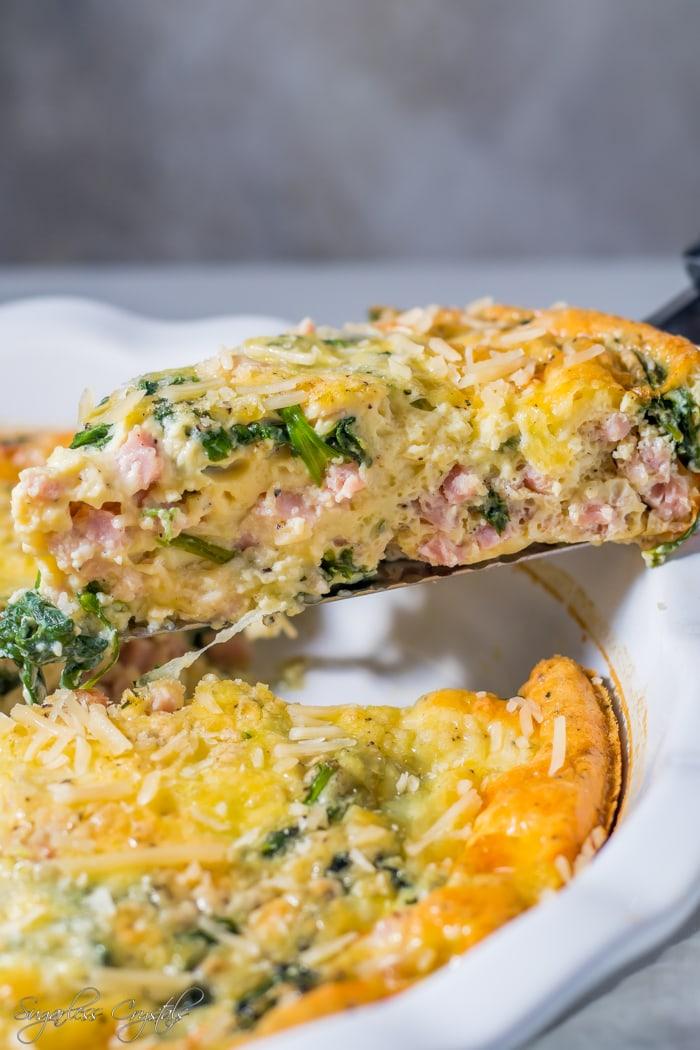 Ham & Cheese Crustless Quiche Keto Recipe